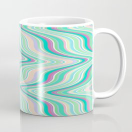 Seafoam soft green blue infinite ikat pattern, old style wavy chevron  Coffee Mug