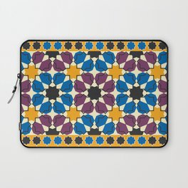 Moroccan seamless pattern, Morocco. Patchwork mosaic with traditional folk geometric ornament Laptop Sleeve