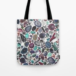 MIXED GEMSTONES ON WHITE Tote Bag