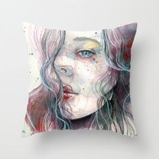 Sleepy violet, watercolor Throw Pillow