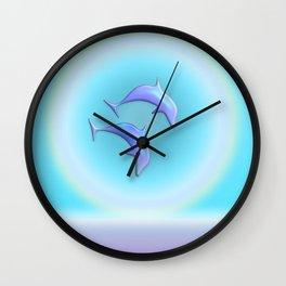 Dolphin Joy in Blue Wall Clock