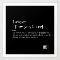 lawyer Art Prints featuring Black Lawyer by Be Raza