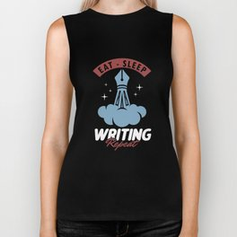Eat Sleep Writing Repeat Author Writer Bookworm Geek Nerds Gift Biker Tank