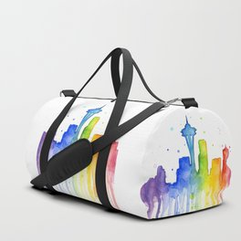 Seattle Skyline Rainbow Watercolor Duffle Bag