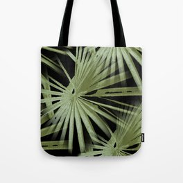 Green On Black Tropical Vibes Beach Palmtree Vector Tote Bag