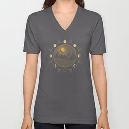 Lunar Phases With Mountains Unisex V-Neck