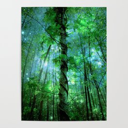 Forest Of The Fairies Green Blue Poster