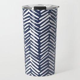 Boho Herringbone Pattern, Navy Blue and White Travel Mug