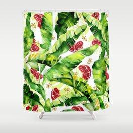 Banana leaf & Pomegranate Shower Curtain