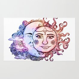 colored Sun and Moon Rug