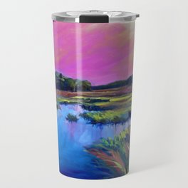 Pink Sunset Marsh Oil Painting by Katie Wall Art Travel Mug
