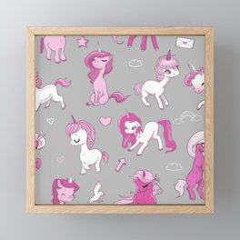 Seamless pattern with pink unicorns Framed Mini Art Print