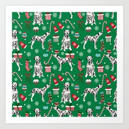 Dalmatian dog breed christmas holiday presents candy canes dalmatians dogs Art Print