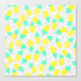 Modern tropical mint yellow pineapples black polka dots pattern illustration Canvas Print