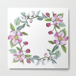 Apple Blossom Wreath 01 Metal Print