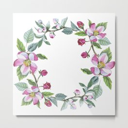 Apple Blossom Wreath 01 Metal Print