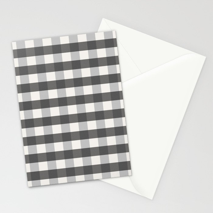 Grey And Pottery White Plaid Gingham Buffalo Check Farmhouse Country Canvas Digital Texture Stationery Cards By Shabbyhappydesigns Society6