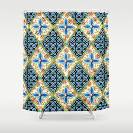 Elizabethan Folkloric Blossoms Shower Curtain