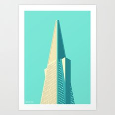 San Francisco Towers - 01 - Transamerica Pyramid (Teal/Sans Text) Art Print
