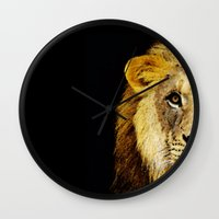 nfl Wall Clocks featuring Lion Art - Face Off by Sharon Cummings