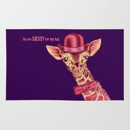 I'm too SASSY for my hat! Pink Giraffe. Rug