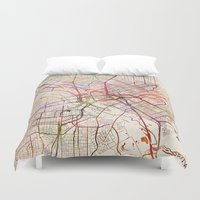 dallas Duvet Covers featuring Dallas by MapMapMaps.Watercolors