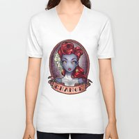 pinup V-neck T-shirts featuring CHANGE pinup by Tim Shumate