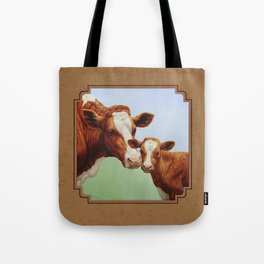 Guernsey Cow and Cute Calf Tote Bag