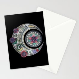 Spiral floral moon Stationery Cards