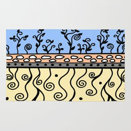 Strong Roots for Growth - Blue Mustard Yellow Rug