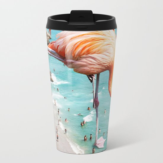 Flamingos on the Beach #society6 #decor #buyart Metal Travel Mug