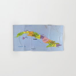 Map of Cuba, Cuban Administration Units (1986) Hand & Bath Towel