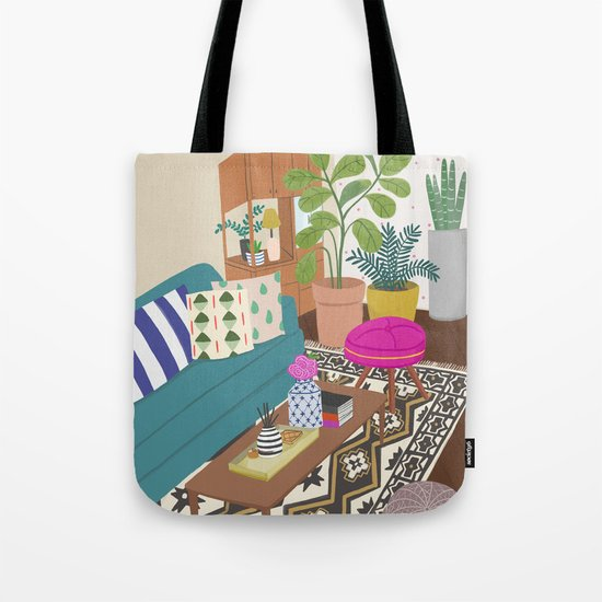 Home Series 1, interior, home, place, living room illustration Tote Bag