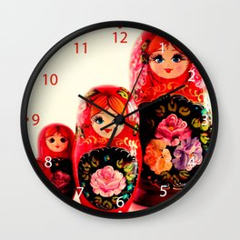 Babushka Russian Doll Wall Clock