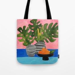 Pink Wall Monstera Tote Bag