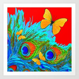 RED YELLOW BUTTERFLY BLUE-GREEN  PEACOCK FEATHER PATTERN Art Print