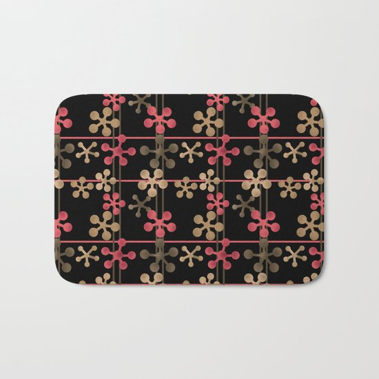 Abstract pattern in black red and brown tones . Bath Mat