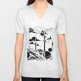 Terrain in Black and White Unisex V-Neck
