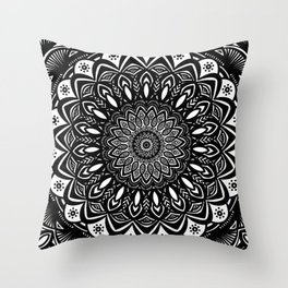 Bold Mandala Black and White Simple Minimal Minimalistic Throw Pillow