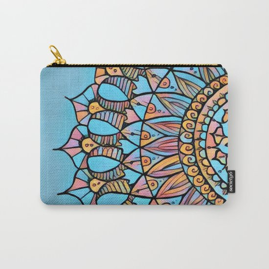 Bloom Mandala in Turquoise Carry-All Pouch