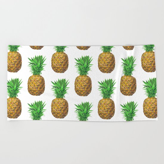 Pineapples, tropical fruit pattern design Beach Towel