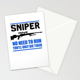 Sniper No Need To Run | Gun Stationery Cards