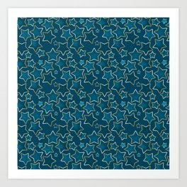 Blue shabby stars on a blue background . Art Print