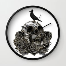Skull and Crow Wall Clock