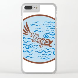Medieval Fish Swimming Oval Retro Clear iPhone Case