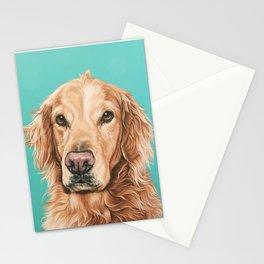 Handsome Golden Retriever Painting, Golden Retriever Portrait, Stately Golden Retriever Dog Art Stationery Cards