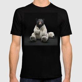 Black bear wearing polar bear costume T-shirt