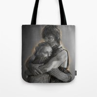 beth hoeckel Tote Bags featuring Beth & Daryl - when I'm gone by Nikita Jobson