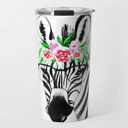 Zebra with glasses and flowers Travel Mug