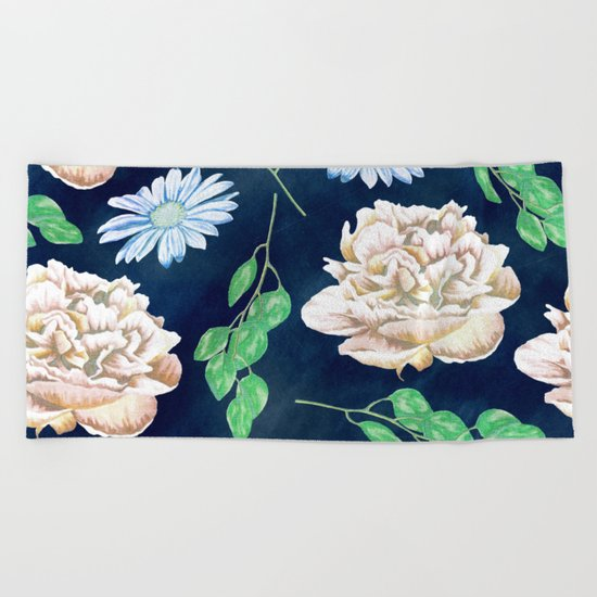 Rose Garden Navy Blue Antique Floral Pattern Beach Towel